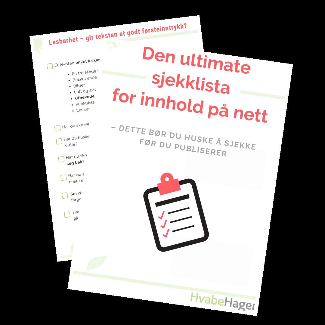 Last ned den ultimate sjekklista for innhold på nett
